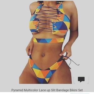 Multi color geometrical pattern lace bikini set